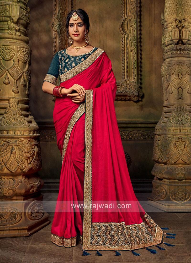 Red Color Art Silk Saree For Wedding