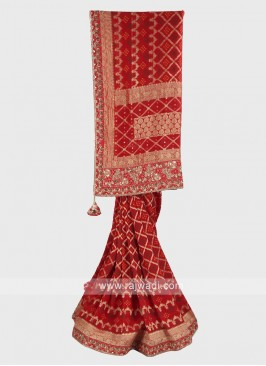 Red color banarasi silk bandhani saree