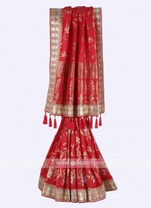 Red color banarasi silk saree