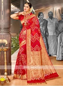 Red Color Banasari Silk Saree