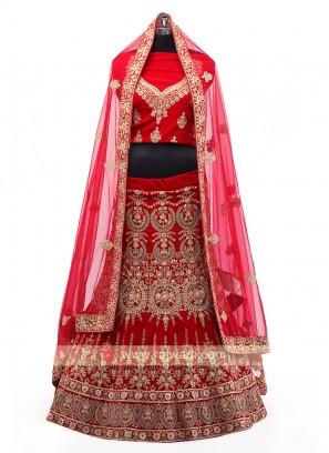 Red Color Bridal Lehenga Choli