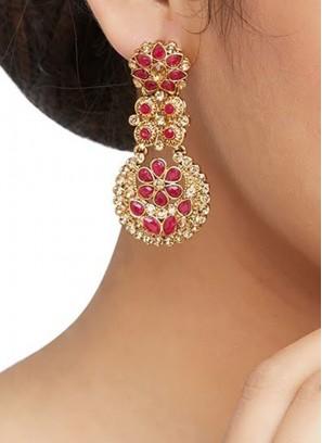 Red Color Chandbali Earrings