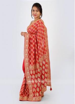 Red Color Bandhani Chiffon Saree