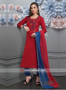 Red Color Cotton Salwar Suit