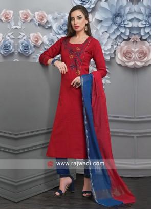 Red Color Cotton Salwar Suit