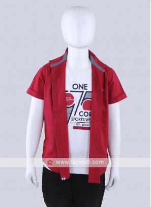 Red Color Cotton Shirt