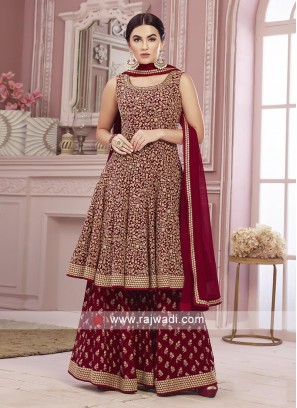 Red color gharara suit with dupatta