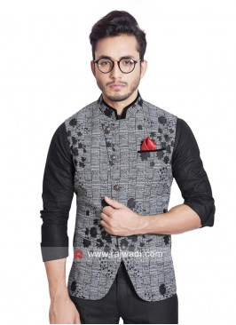 Dark Grey Color Koti With Stylish Buttons