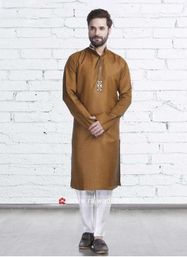 Golden Color Kurta Pajama For Wedding