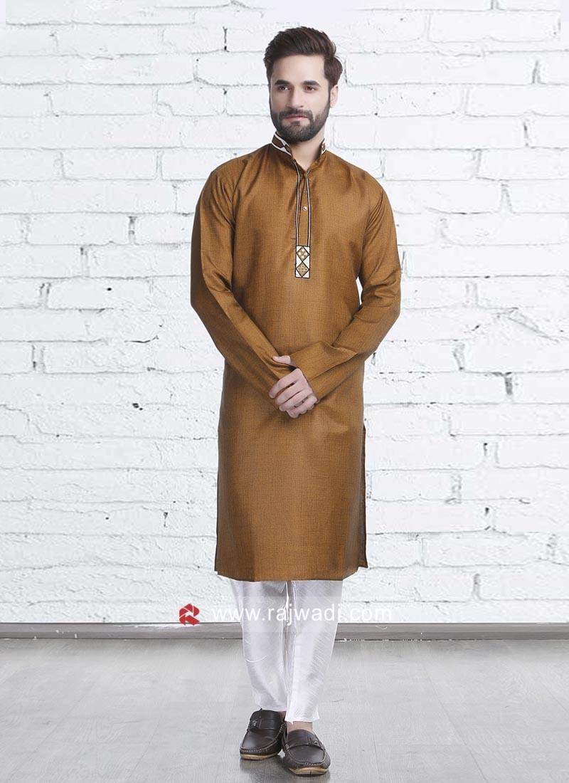 Golden Color Kurta Pajama For Wedding