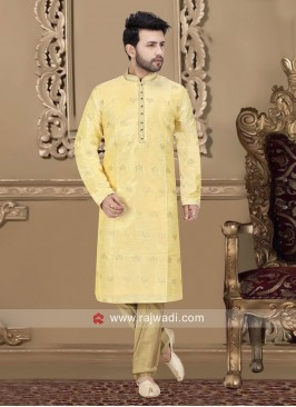 Golden Cream Color Kurta Pajama For Wedding