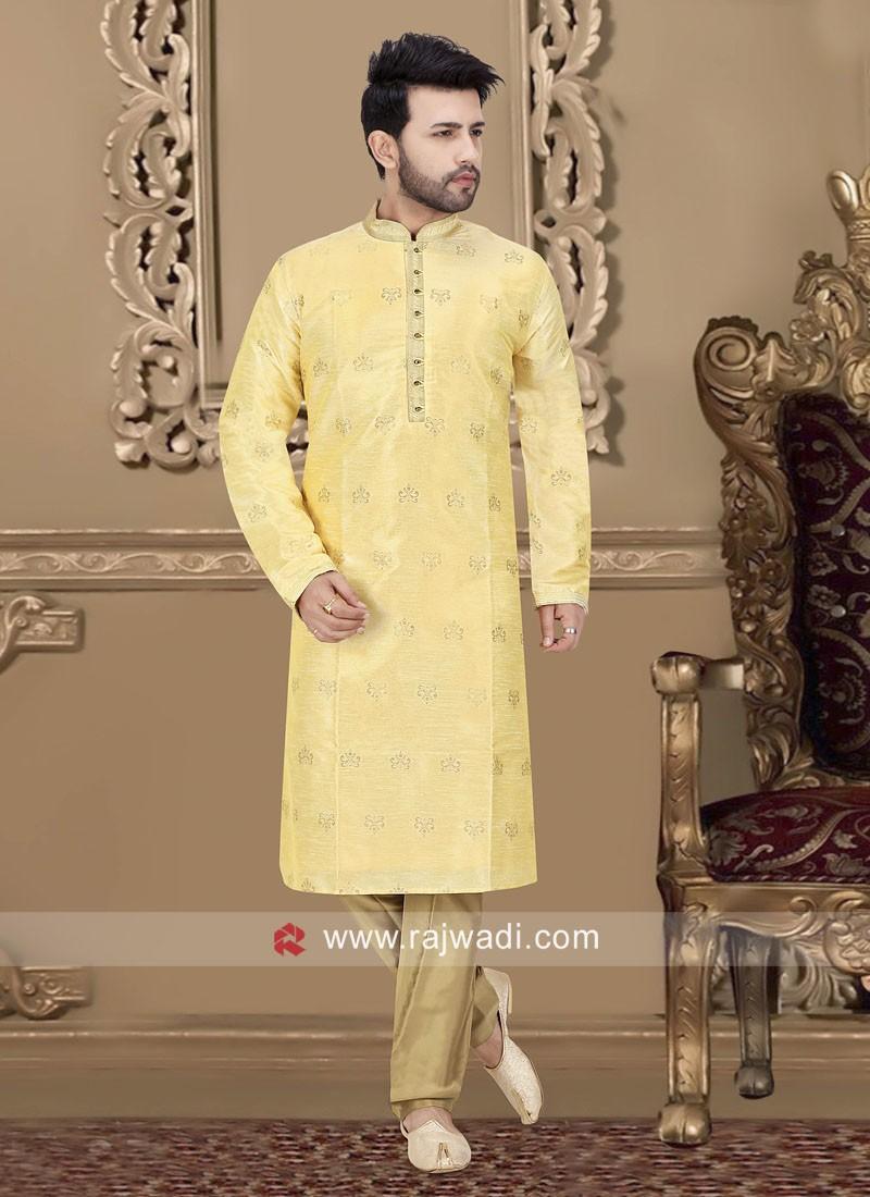 Golden Cream Color Kurta Pajama For Wedding