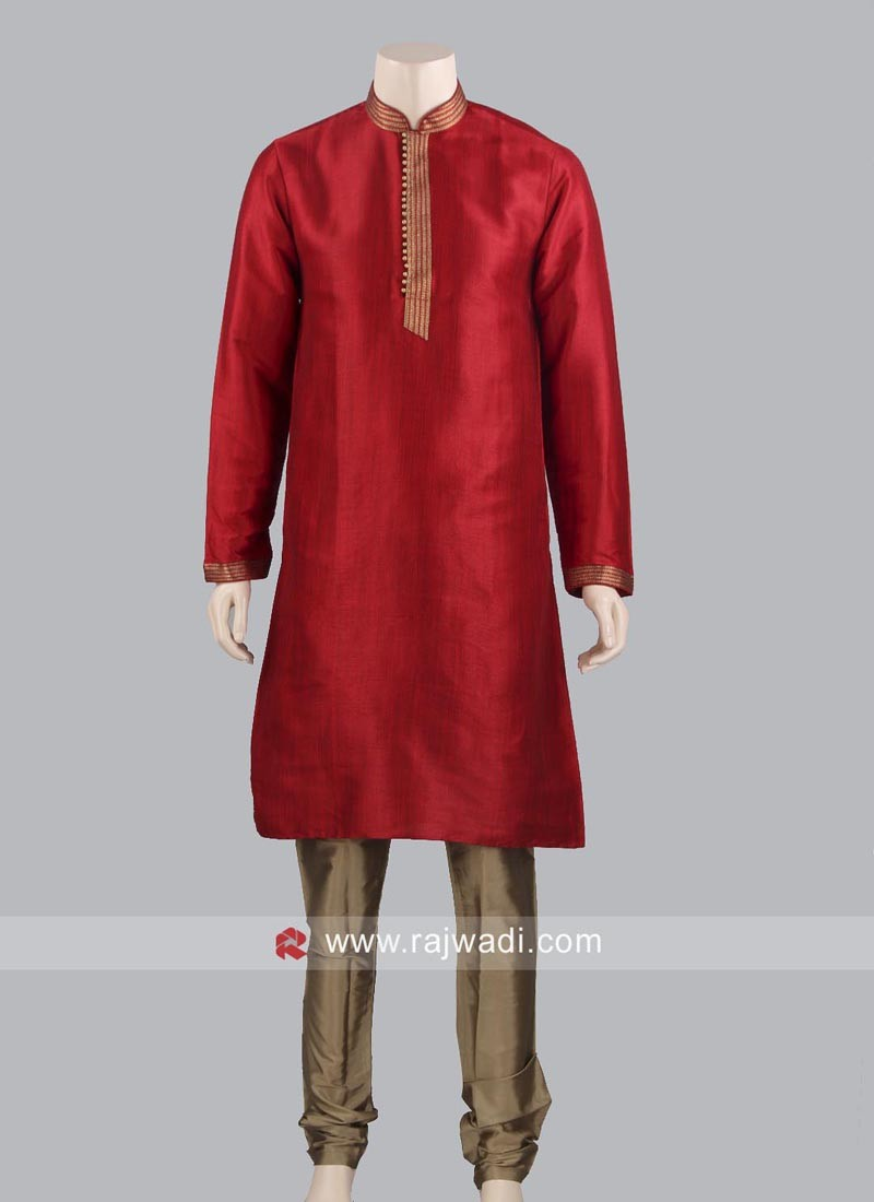 Red Color Kurta Pajama For Wedding