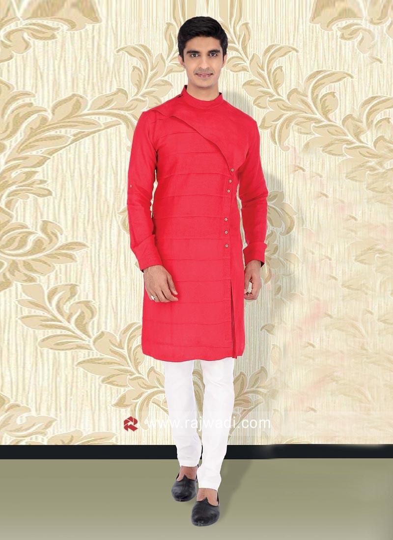 Red Color Kurta Set For Wedding