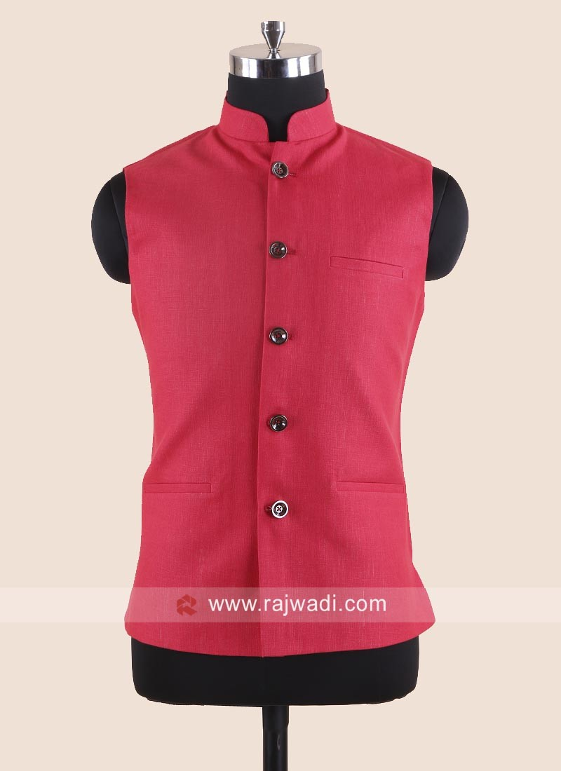 Red Color Linen Modi Koti