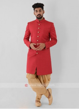 Red Color Mens Indo-Western