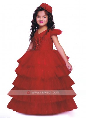 Red color net gown