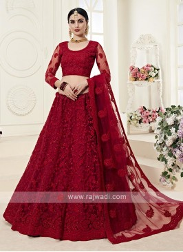 red color net lehenga choli