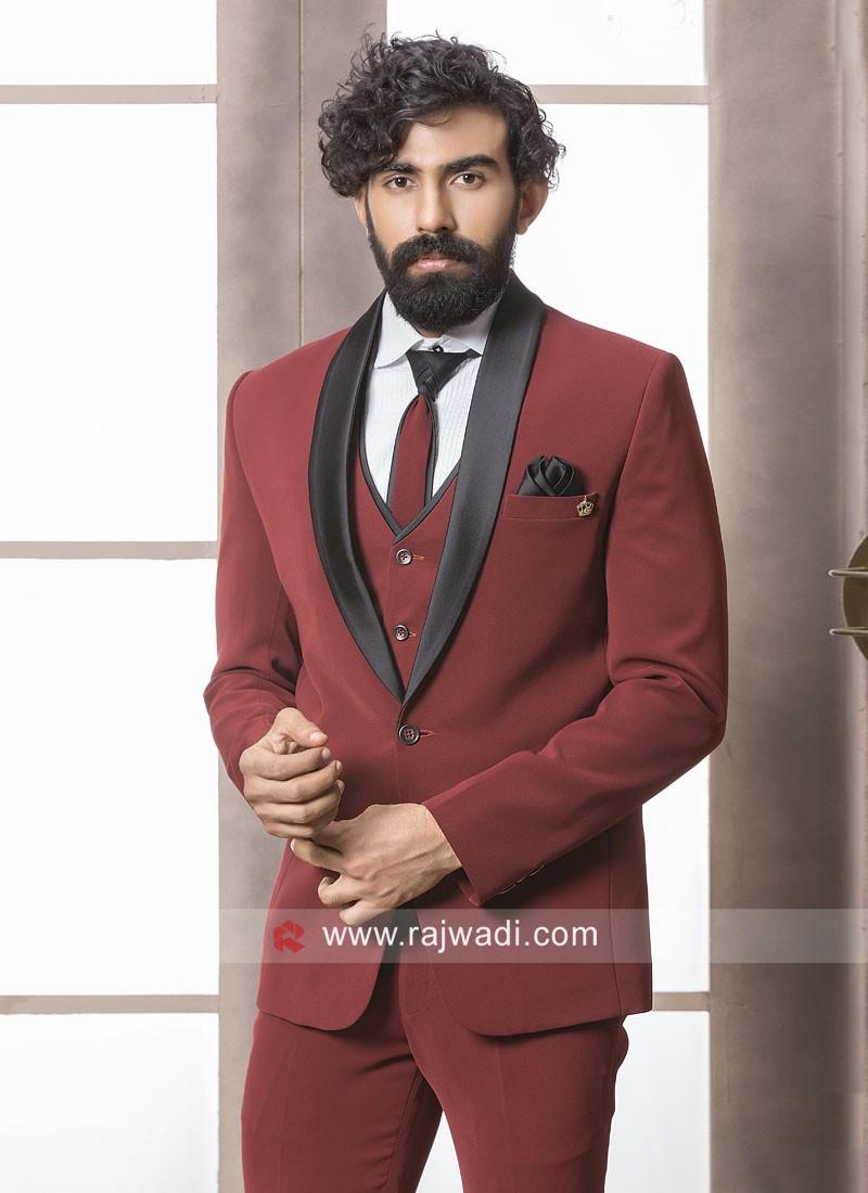 Red Color Party Wear Suit
