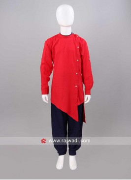 Red Color Pathani Set With Side Buttons