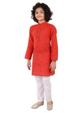 Red Color Printed Kurta Pajama