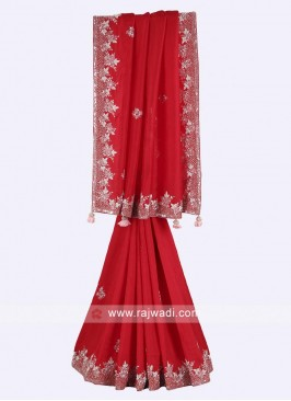 Red color pure silk saree