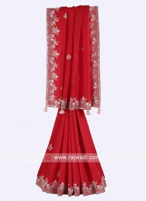 Red color pure silk saree
