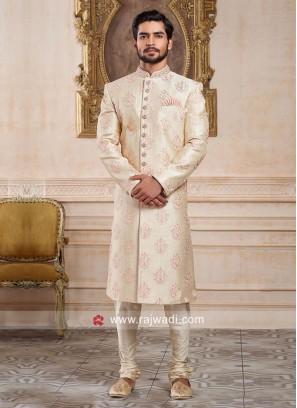 Cream Color Silk Fabric Indo Western For Wedding