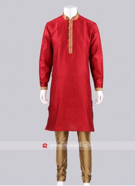 Red Color Silk Fabric Kurta Pajama For Wedding