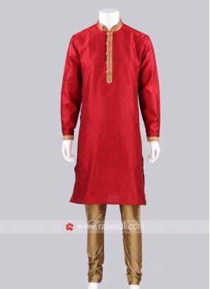Red Color Silk Fabric Kurta Pajama For Wedding