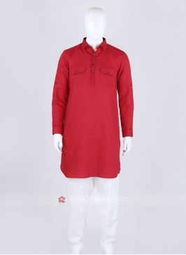 Red Color Solid Pathani Suit