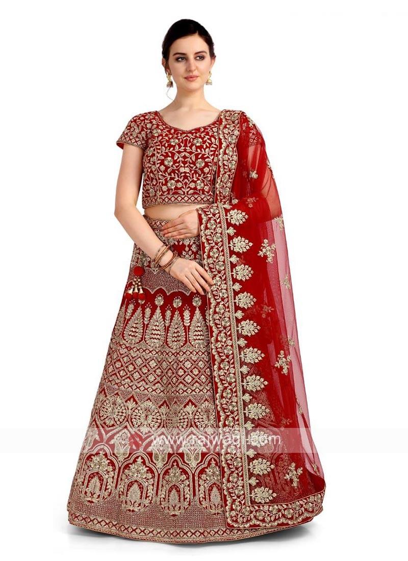Red Color Velvet Lehenga Choli