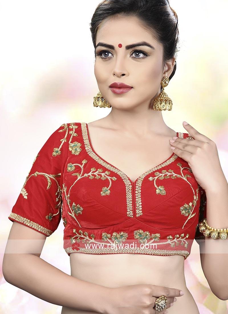 Red Color Velvet Ready Choli
