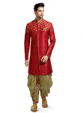 Red Colored Resham Work Patiala Suit