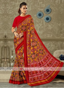 Red Colour Patola Print Saree
