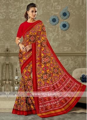 Red Colour Patola Print Saree
