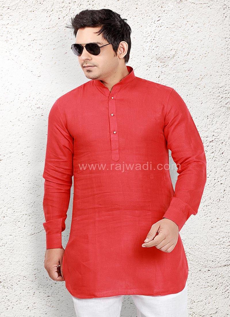 Red coloured Kurta for Men