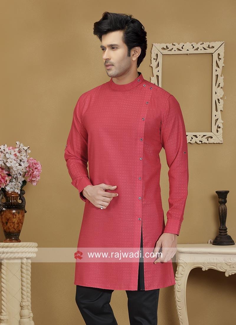 Red Cotton Fabric Kurta