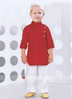 Red Cotton Fabric Pathani Suit