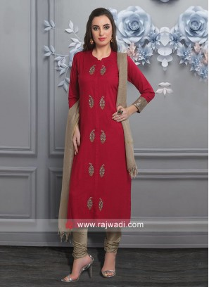 Red Cotton Fabric Salwar Suit