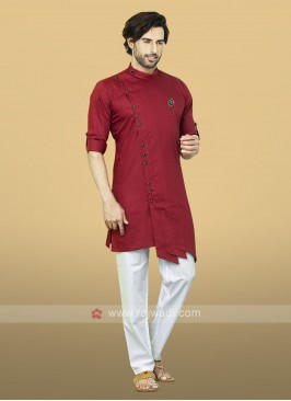 Red Cotton Kurta Pajama