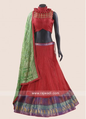 Red Cotton silk Designer Chaniya Choli