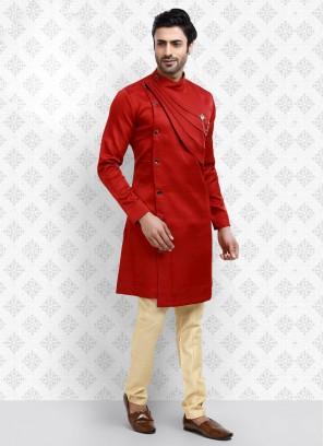 Red And Cream Kurta Pajama For Men