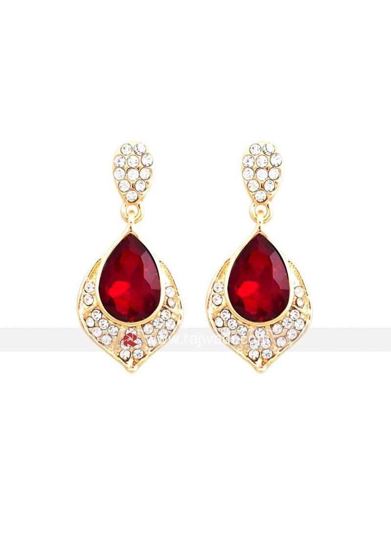Red Crystal Dangler Earrings