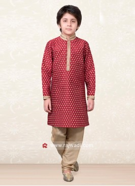 Red Designer Kurta Pajama for Kids