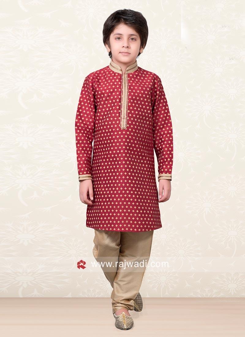Red Designer Kurta Pajama for Kids
