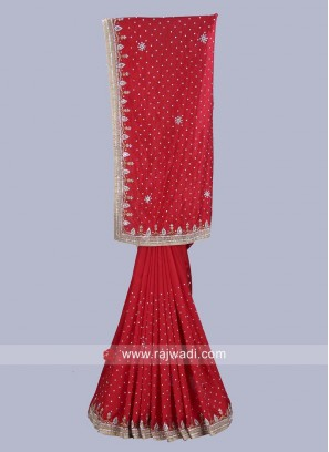 Red Designer Saree with Blouse