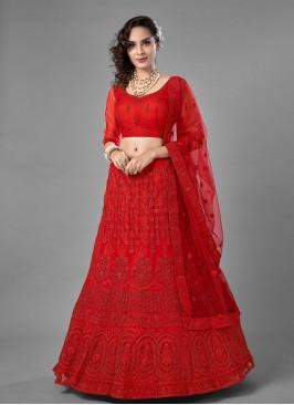 Red Dori Work Net Lehenga Choli
