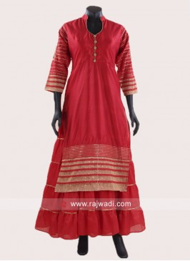 Red Double Layered Kurti