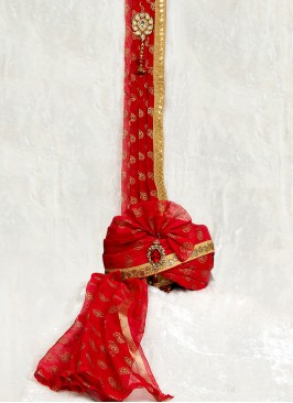 Red Dulha Turban With Dupatta